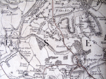 Original map extract including: Hendon, Finchley, Highgate, Hampstead Heath Click to enlarge